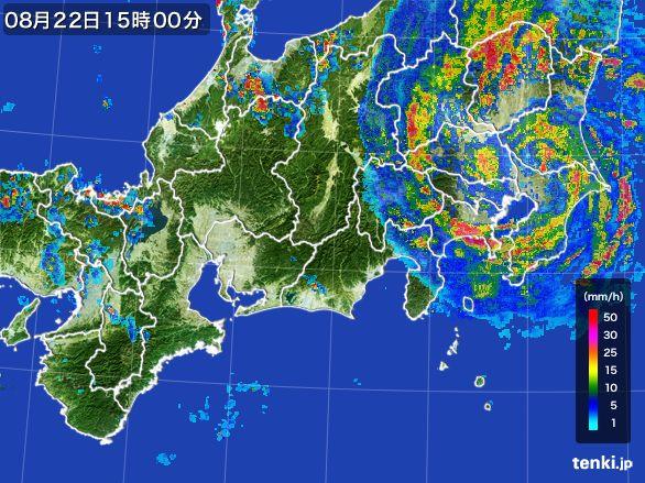東海地方の雨雲レーダー(2016年08月22日)