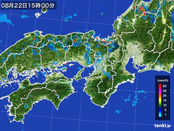 近畿地方の雨雲レーダー(2016年08月22日)