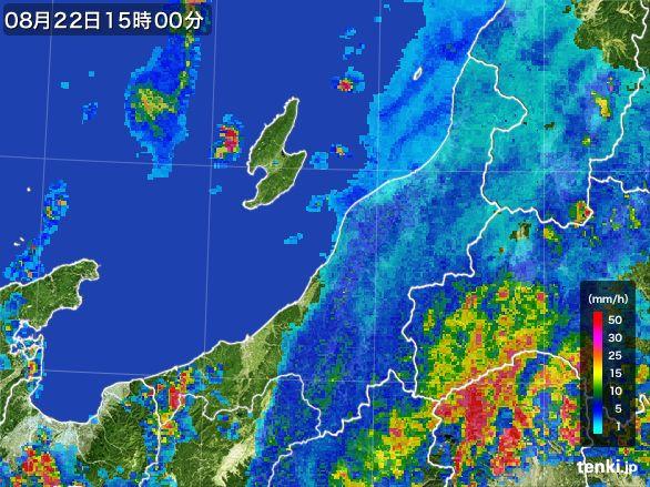 新潟県の雨雲レーダー(2016年08月22日)