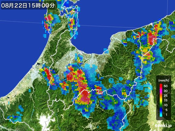 富山県の雨雲レーダー(2016年08月22日)