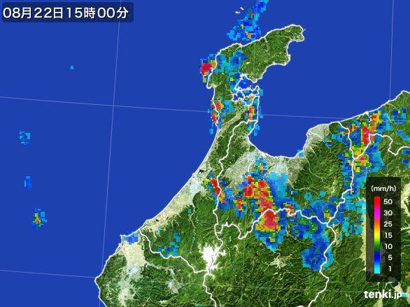 石川県の雨雲レーダー(2016年08月22日)