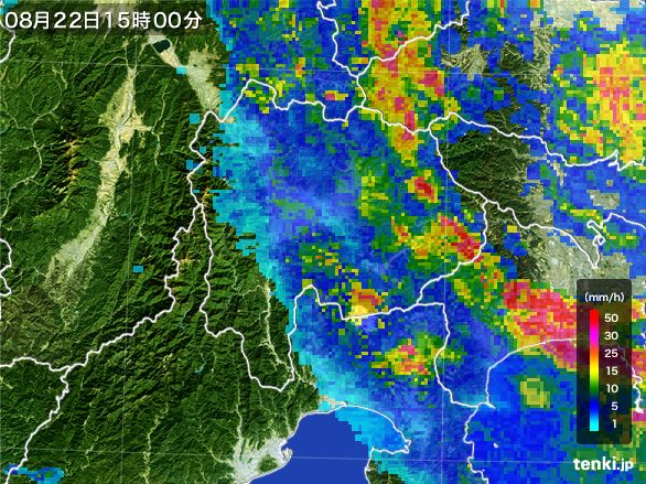 山梨県の雨雲レーダー(2016年08月22日)
