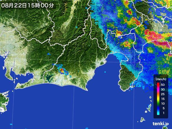 静岡県の雨雲レーダー(2016年08月22日)