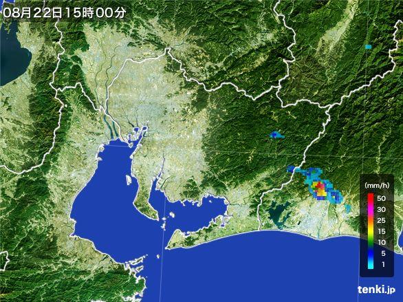 愛知県の雨雲レーダー(2016年08月22日)