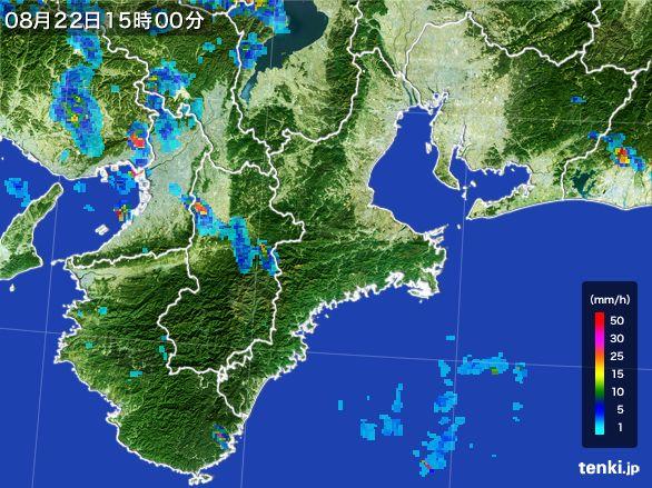 三重県の雨雲レーダー(2016年08月22日)