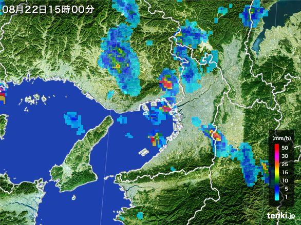 大阪府の雨雲レーダー(2016年08月22日)
