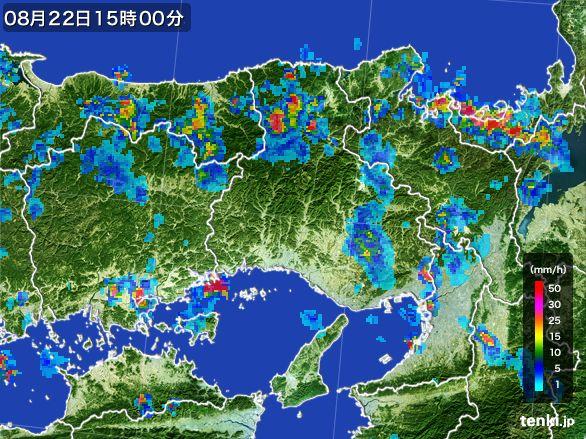 兵庫県の雨雲レーダー(2016年08月22日)