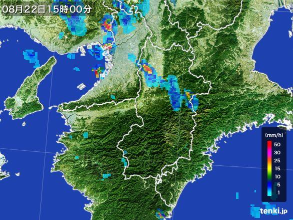 奈良県の雨雲レーダー(2016年08月22日)