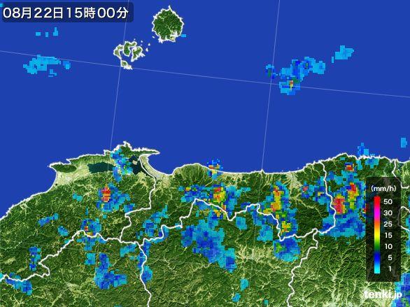 鳥取県の雨雲レーダー(2016年08月22日)
