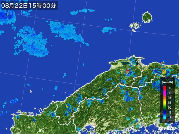 島根県の雨雲レーダー(2016年08月22日)
