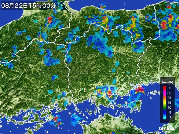 岡山県の雨雲レーダー(2016年08月22日)