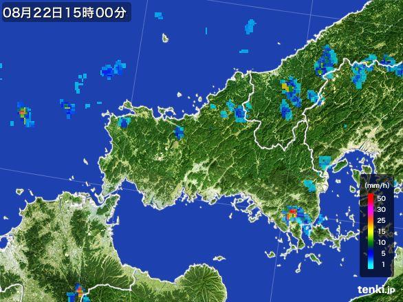 山口県の雨雲レーダー(2016年08月22日)