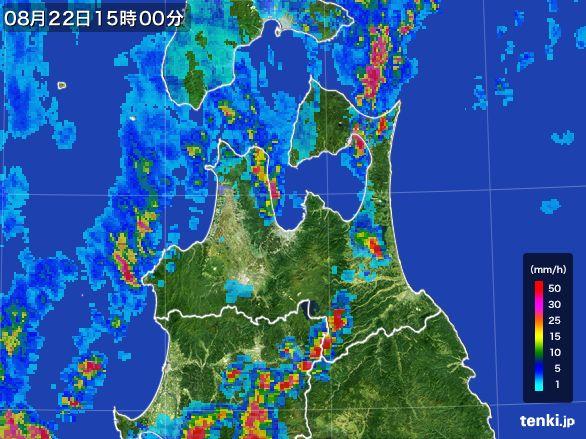 青森県の雨雲レーダー(2016年08月22日)