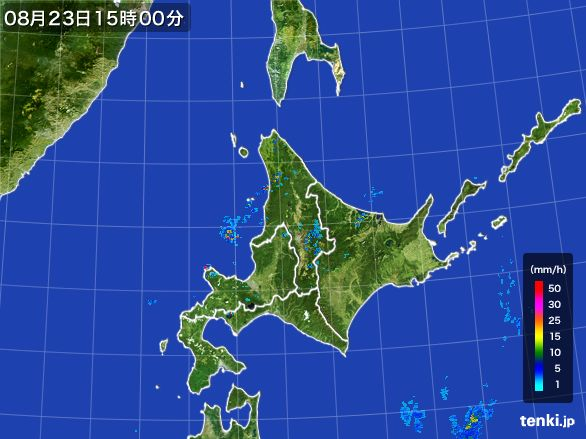 北海道地方の雨雲レーダー(2016年08月23日)