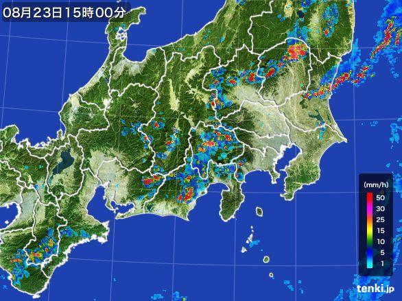 関東・甲信地方の雨雲レーダー(2016年08月23日)