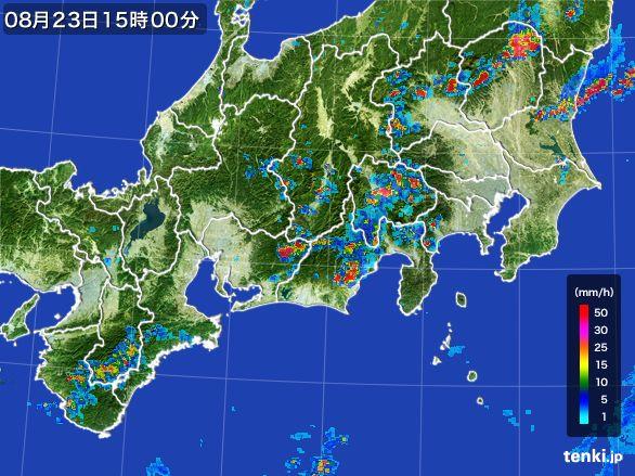 東海地方の雨雲レーダー(2016年08月23日)