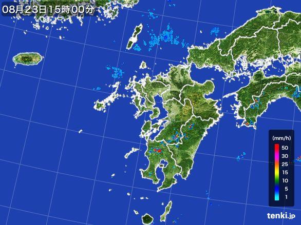 九州地方の雨雲レーダー(2016年08月23日)