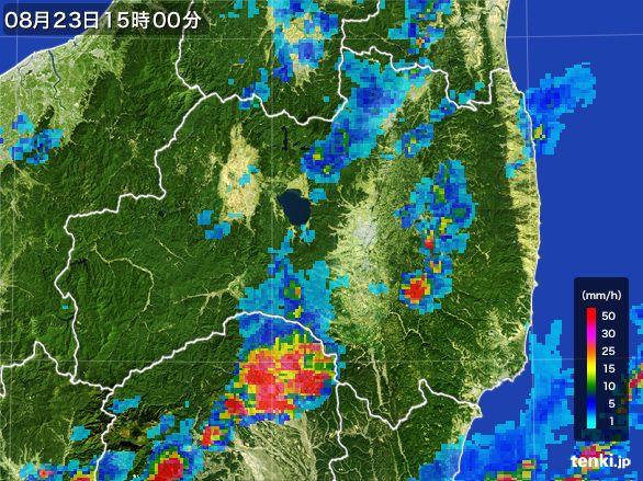 福島県の雨雲レーダー(2016年08月23日)