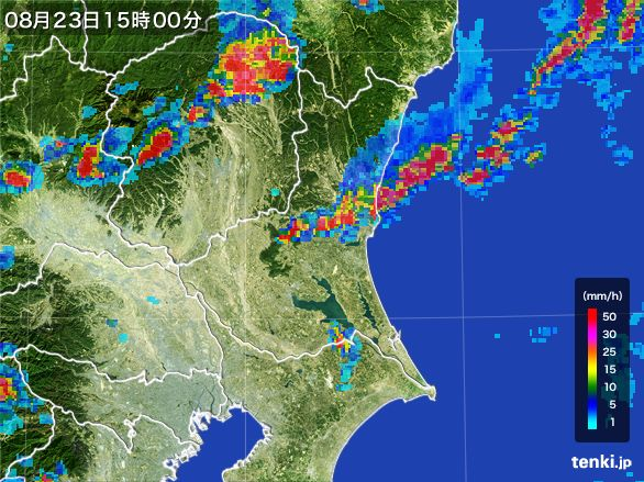 茨城県の雨雲レーダー(2016年08月23日)