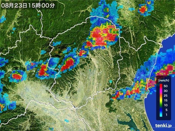 栃木県の雨雲レーダー(2016年08月23日)
