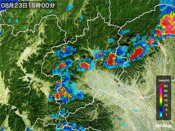 群馬県の雨雲レーダー(2016年08月23日)