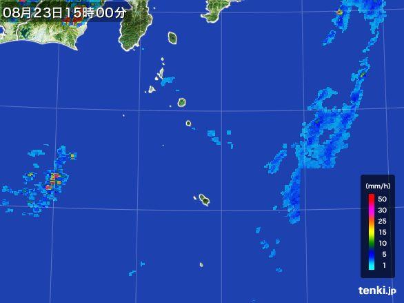 伊豆諸島(東京都)の雨雲レーダー(2016年08月23日)