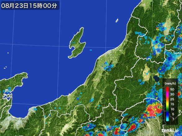 新潟県の雨雲レーダー(2016年08月23日)