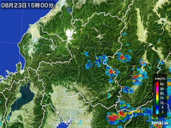 岐阜県の雨雲レーダー(2016年08月23日)
