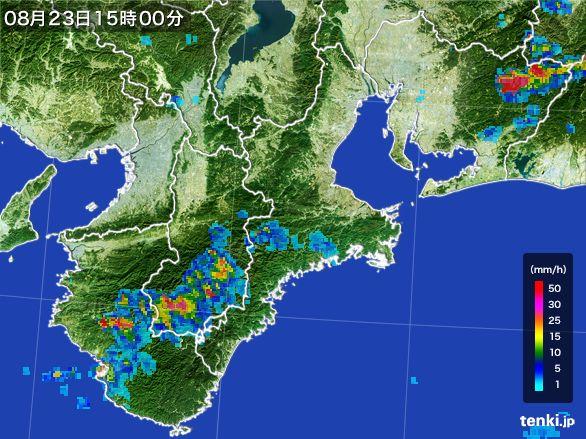 三重県の雨雲レーダー(2016年08月23日)