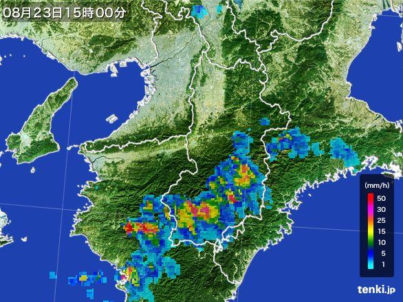 奈良県の雨雲レーダー(2016年08月23日)