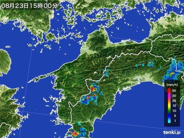 愛媛県の雨雲レーダー(2016年08月23日)