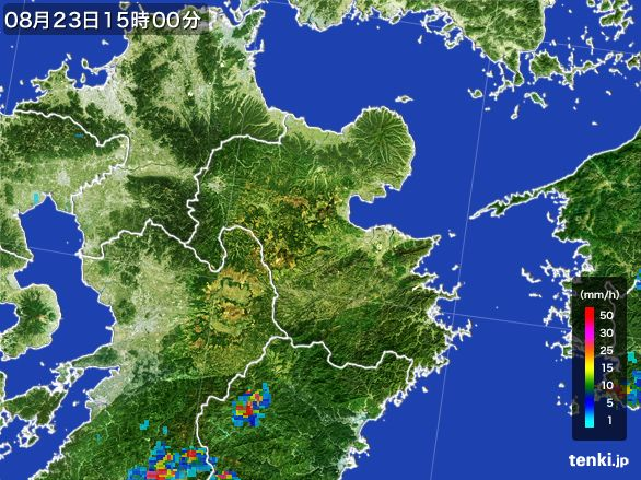 大分県の雨雲レーダー(2016年08月23日)