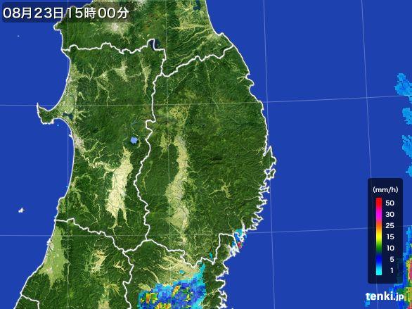 岩手県の雨雲レーダー(2016年08月23日)