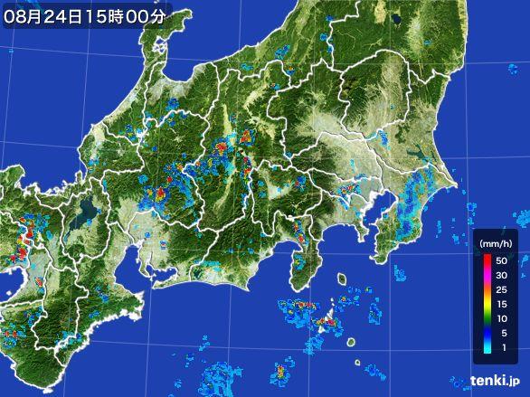 関東・甲信地方の雨雲レーダー(2016年08月24日)