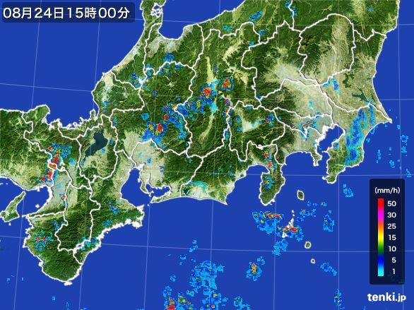 東海地方の雨雲レーダー(2016年08月24日)
