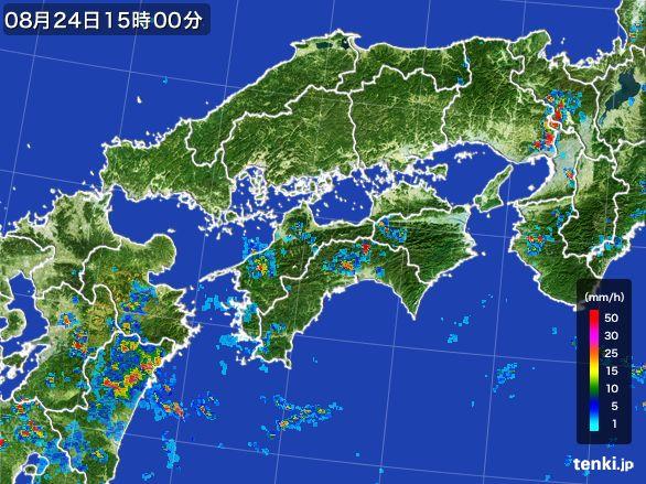 四国地方の雨雲レーダー(2016年08月24日)
