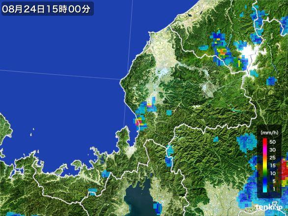福井県の雨雲レーダー(2016年08月24日)