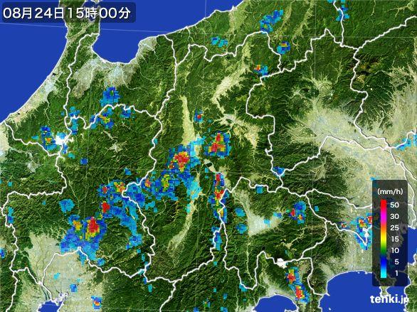 長野県の雨雲レーダー(2016年08月24日)