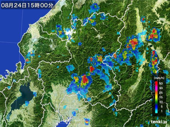 岐阜県の雨雲レーダー(2016年08月24日)
