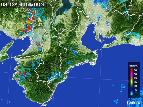 三重県の雨雲レーダー(2016年08月24日)