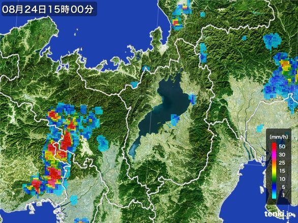滋賀県の雨雲レーダー(2016年08月24日)