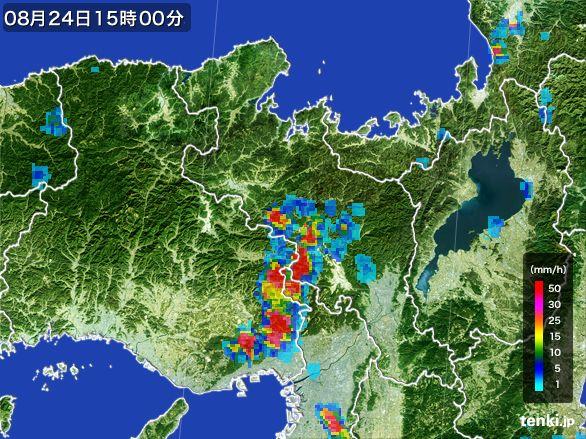 京都府の雨雲レーダー(2016年08月24日)