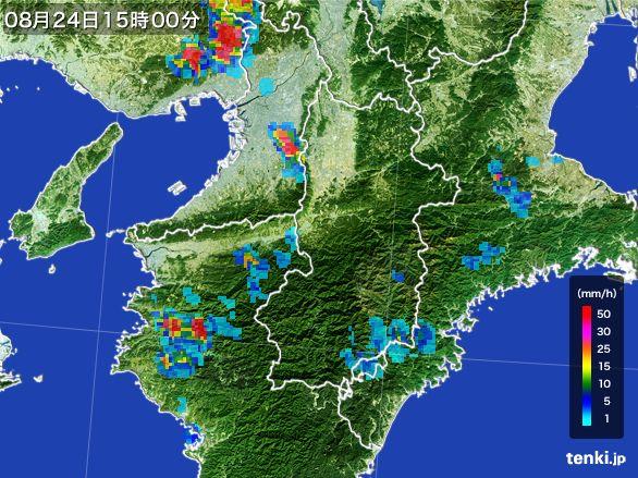 奈良県の雨雲レーダー(2016年08月24日)