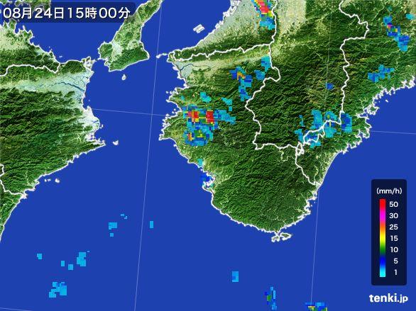 和歌山県の雨雲レーダー(2016年08月24日)