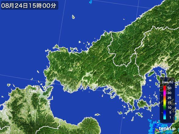 山口県の雨雲レーダー(2016年08月24日)