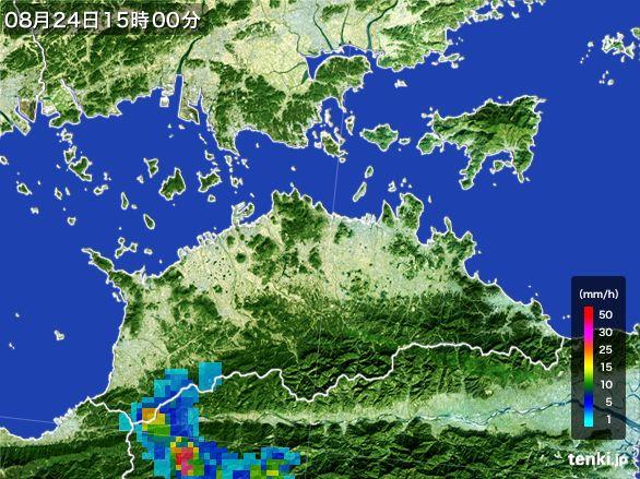 香川県の雨雲レーダー(2016年08月24日)