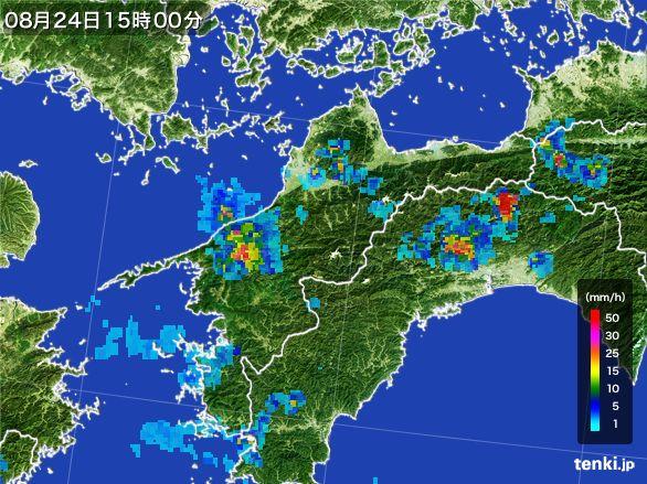 愛媛県の雨雲レーダー(2016年08月24日)