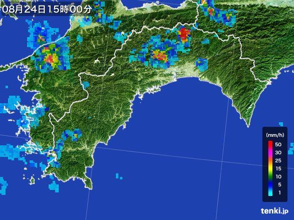 高知県の雨雲レーダー(2016年08月24日)