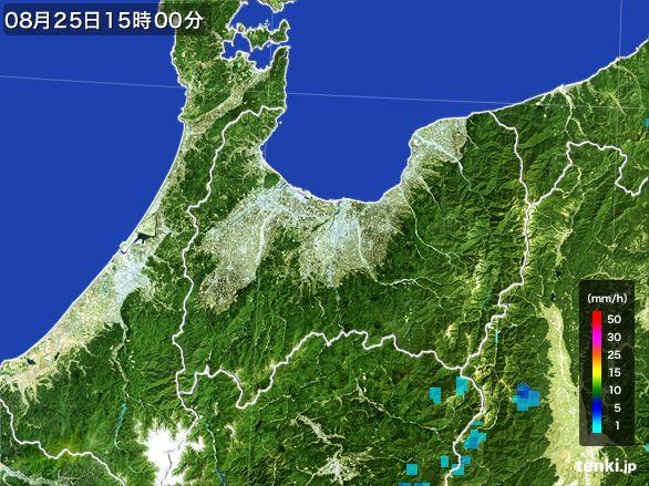 富山県の雨雲レーダー(2016年08月25日)