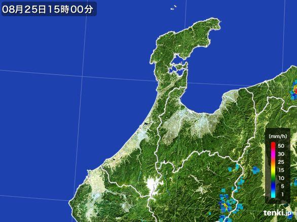 石川県の雨雲レーダー(2016年08月25日)